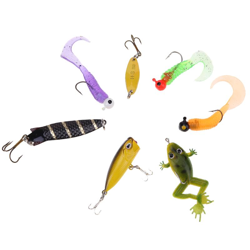 wholesale 30pcs Fishing Lure Kit Hard Metal+ Frog+ Minnow+ Jig Head Lures Mixed Color Size Style Pesca Fishing Artificial Baits Promotion