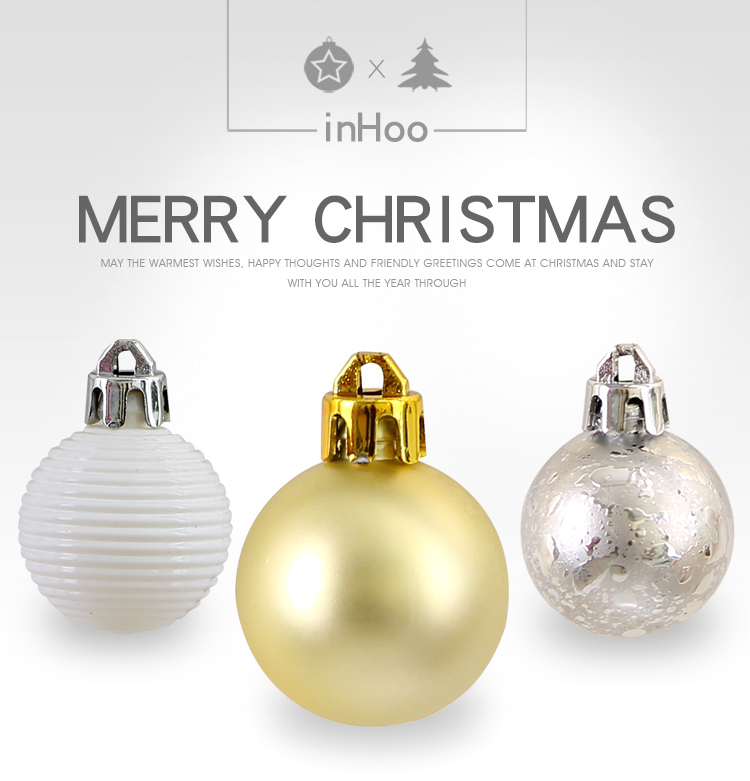 01inhoo 49pcs Christmas Tree Ornaments Polystyrene Plastic 3cm Decor Balls Baubles Xmas Party Hanging Ball for Home Gifts 2019