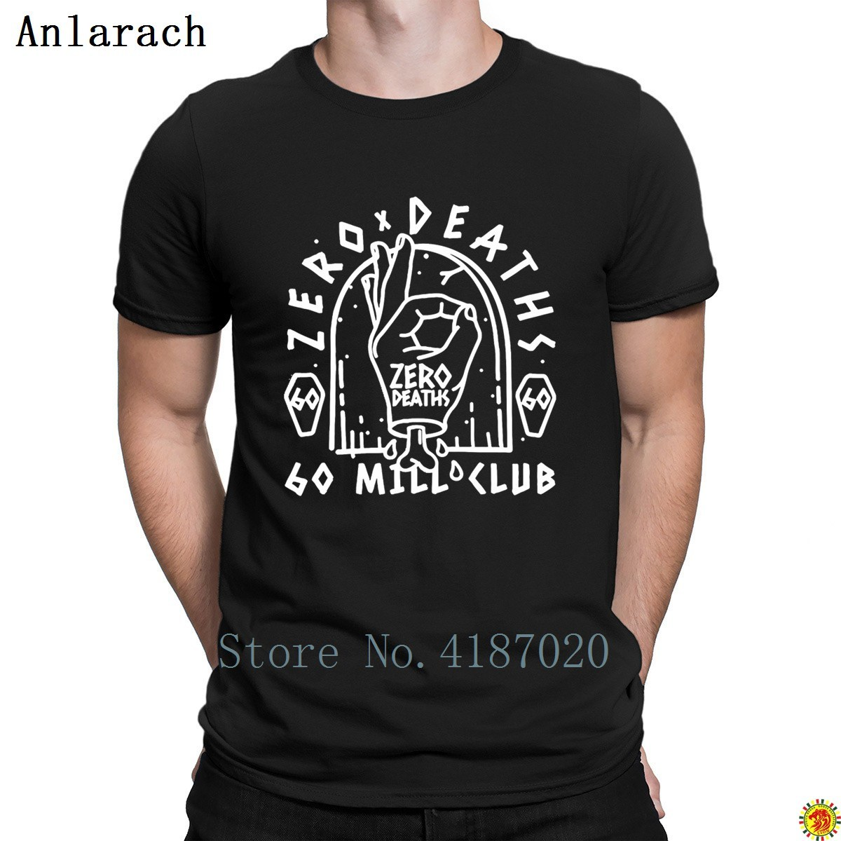 60 Mill Club Pewdie Pie Zero Deaths T-Shirt Cute Trendy Novelty Men's Tshirt 100% Cotton Character Clothing Summer Style