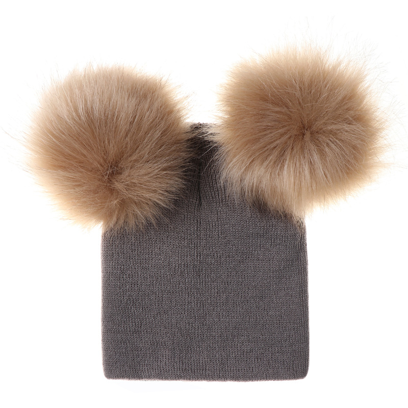 Baby Warm Hat Children Toddler Kids Wool Knit Beanie Fur Pom Pom Bobble Hat Winter Cap 6M-5T