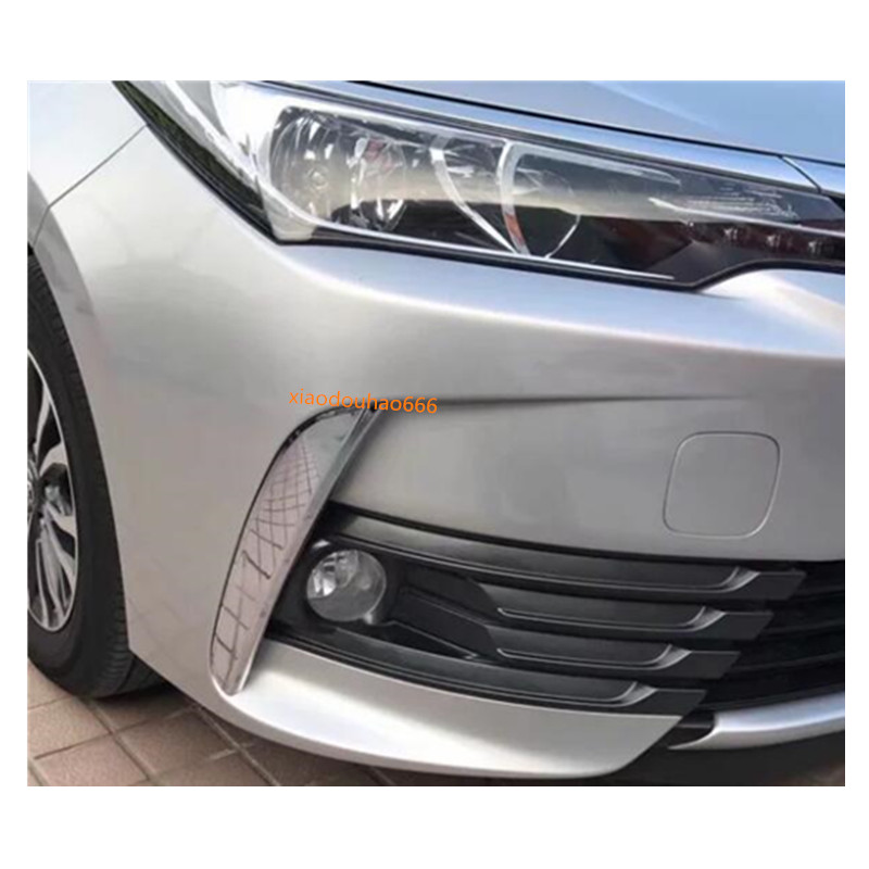 2Pcs Chrome Fog Light Lamp Cover Decorate Trim For Toyota Highlander 2018 2019