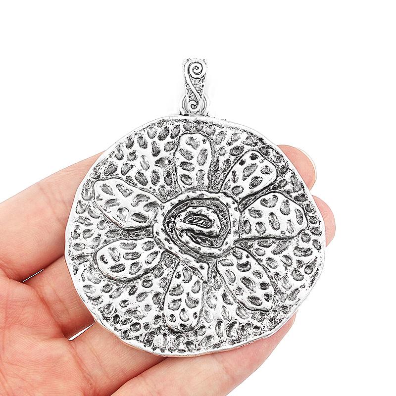6 x 10 10 flores DIY colgante de metal de joyería del conector de la encanto florecen plata 17 6 mm