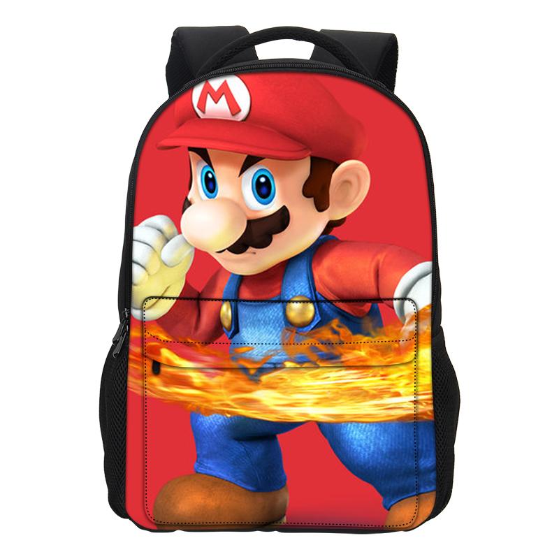 wholesale New Fashion School Bags Super Mario Printing Backpacks Girls Shoulder Bag Cool Cartoon Mochila Casual Men Daily Daypacks