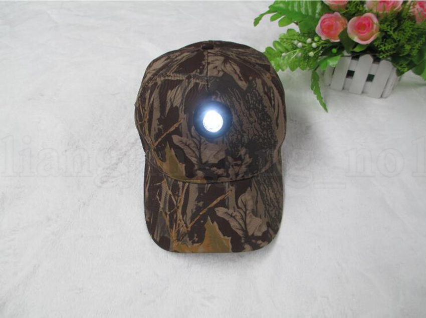 Camo Head Light Cap Night Fishing Cap Cycling Hunting Sports Durable Headlamp Hats LED Baseball Hats OOA5641
