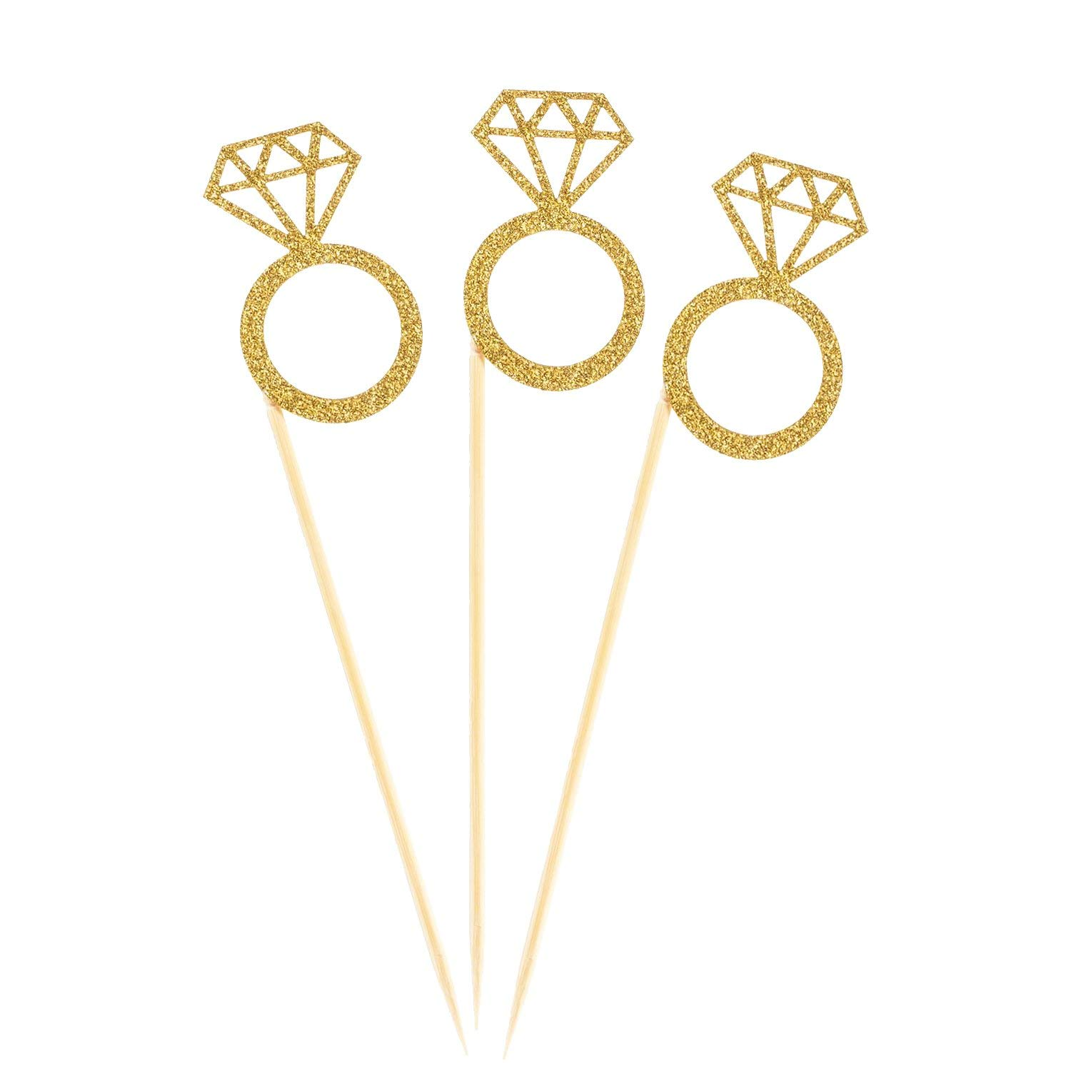50 Pack Cupcake Toppers Gold Glitter Mini Diamond Ring Cakes Toppers Marriage Engagement Anniversary Birthday Valentines Party