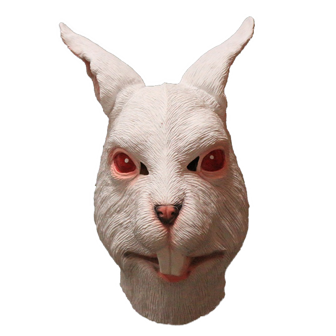 White Rabbit Overhead Rubber Mask Rabbits Head Fancy Dress Costume Outfit Prop
