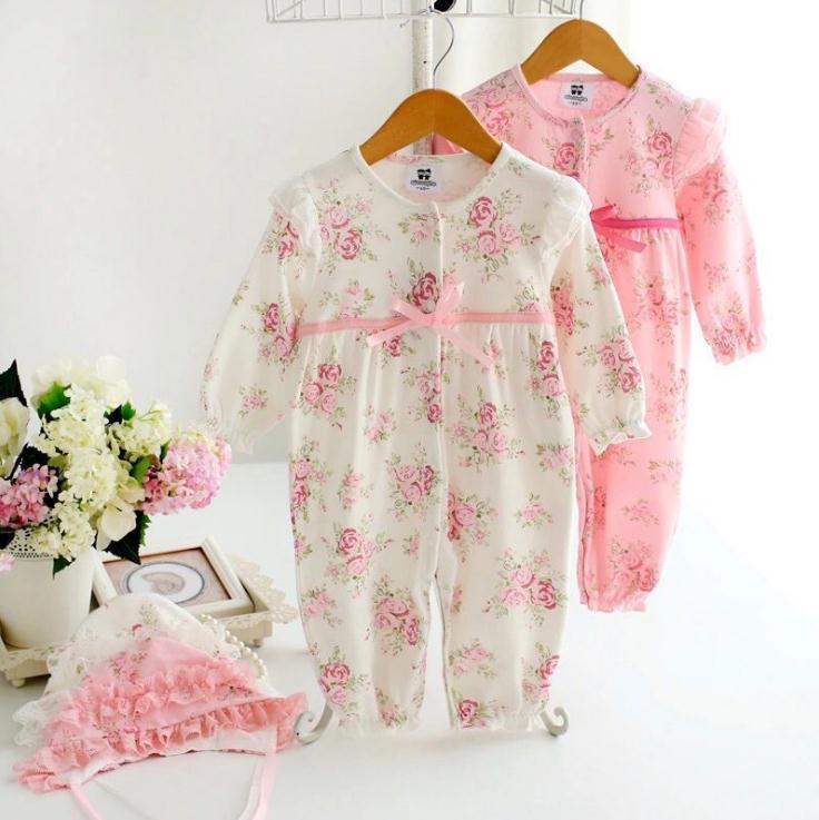 Newborn Baby Girl Rompers Floral Kids Romper Lace Hat Infant Jumpsuit Flower Playsuit Toddler Costume Bowknot Clothes Suit