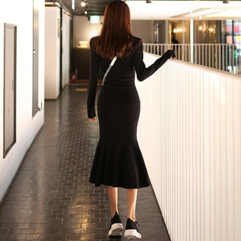 Slim Ladies Dress Temperament Gonna a maniche lunghe a maniche lunghe con cappuccio a maniche lunghe Autunno e inverno Abito a maniche lunghe da donna