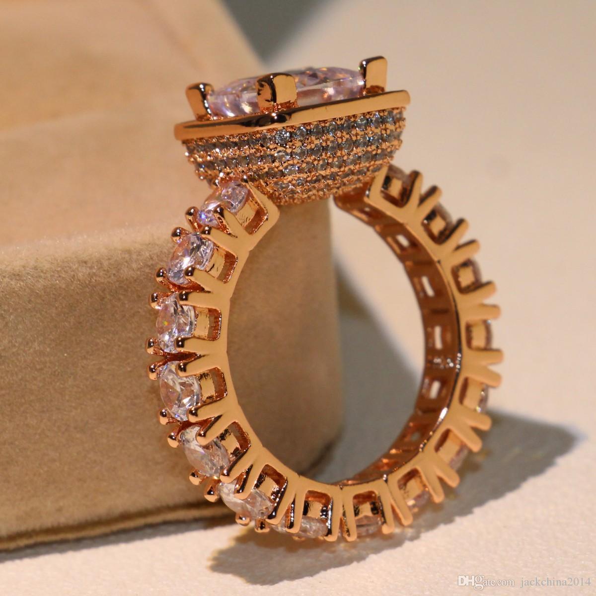 Sparkling Luxury Jewelry Brand Desgin Choucong 925 Sterling Silver&Rose Gold Filled Princess Cut Topaz CZ Diamond Women Wedding Band Ring