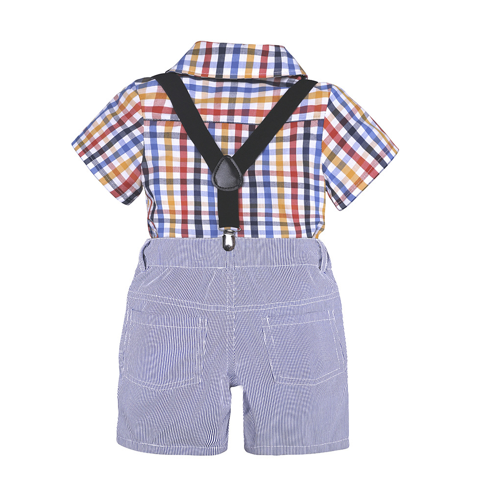 Summer Boy Clothes Sets Kids Clothing Gentleman Suit Plaid Short Sleeve Shirt+Suspender Shorts Children Clothing Set Outfit
