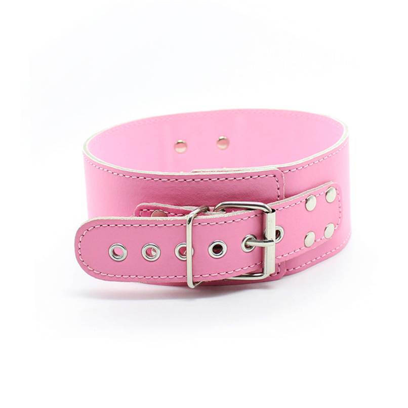 Pink PU Leather Neck Collars Sexy Necklace BDSM S&M Fetish Harness Bondage Restraints Flirting Sex Toys for Women Adult Game