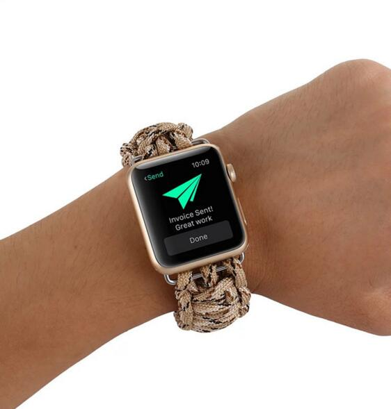 luxury Outdoor sports camouflage umbrella cord nylon strap band for apple iwatch 1 2 3 4 nice gift