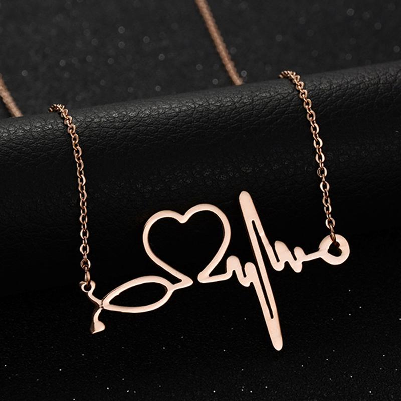 Collar pendiente de la forma del corazón dulce del estetoscopio de la ENE
