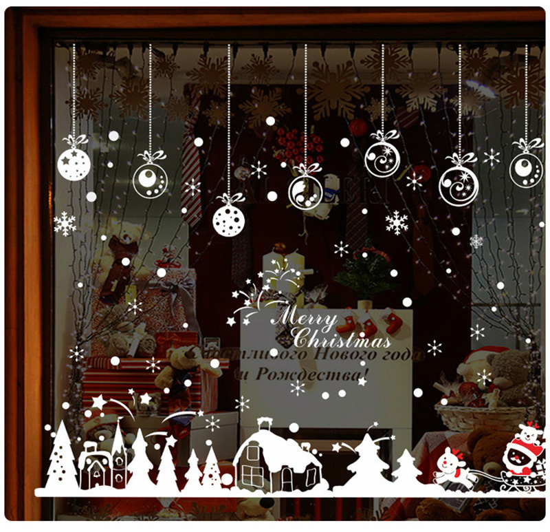 2019 New Year Merry Christmas Decorations for Home Snowflake Hut Wall Sticker Shop Window Glass Decoration Removable PVC Sticker (6)