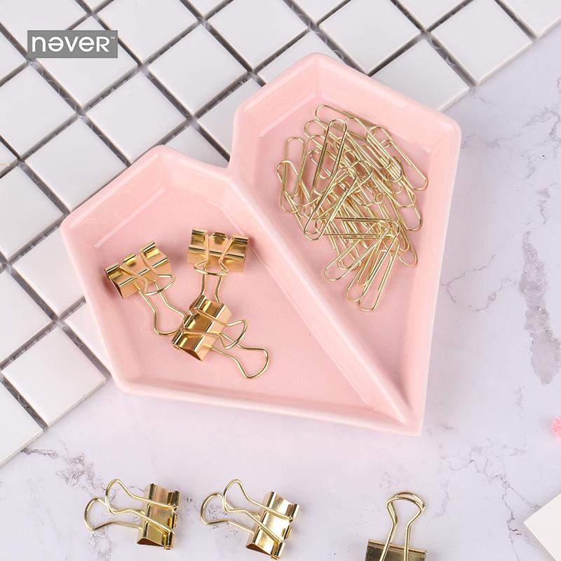 Herz Metall Büroklammern 12 Stück Binder Clips Gold // Rose Gold Farben