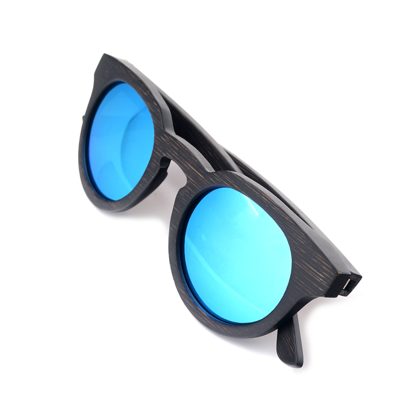 C-CAZ BG012d bamboo wooden sunglasses for women and mens Blue lens (12)