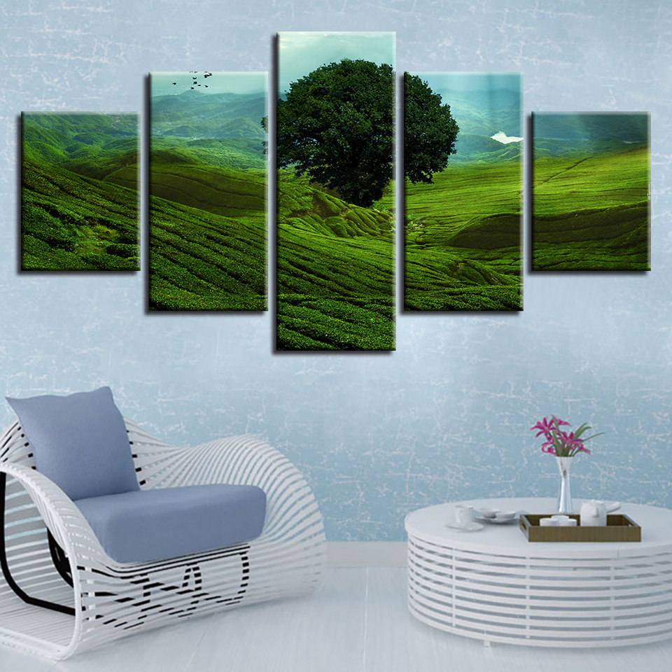 HD Printed Art Painting Green Mountain And Green Trees Natural Scenery Poster Modular Canvas Pictures Decor Modern Wall