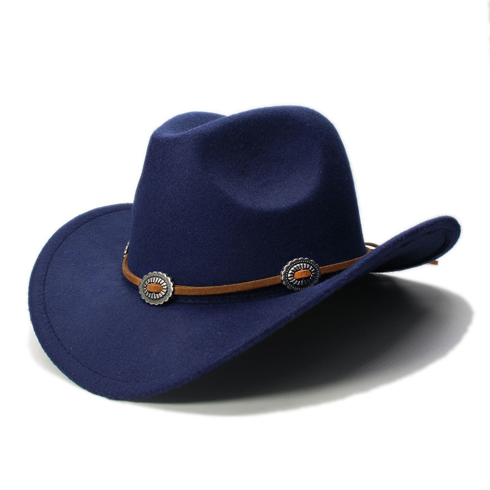 Lã Unisex Vintage mistura ocidental do Fedora Hat Gangster Aba larga Sombrero Godfather Cap Igreja Caps couro corda Cowgirl com Metal