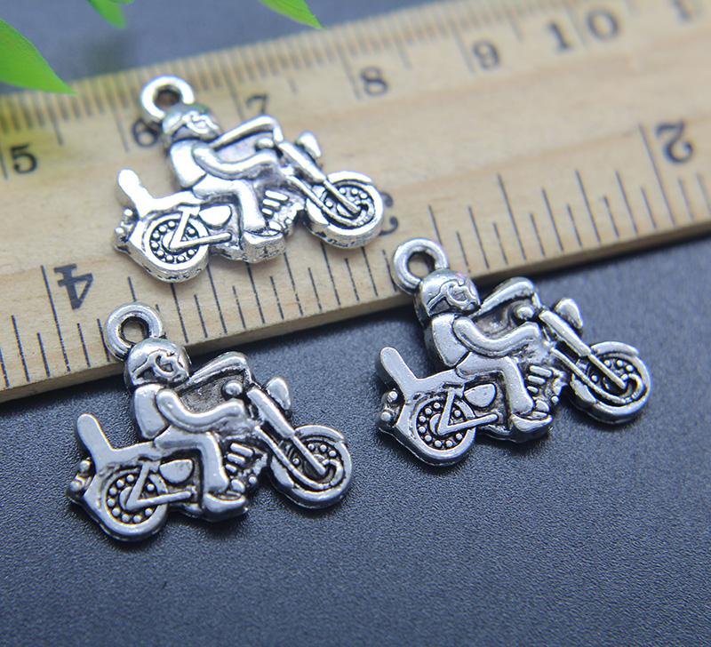 20//60pcs Tibetan Silver Motorcycle Crafts Charms Pendants Beads 13x17.5mm