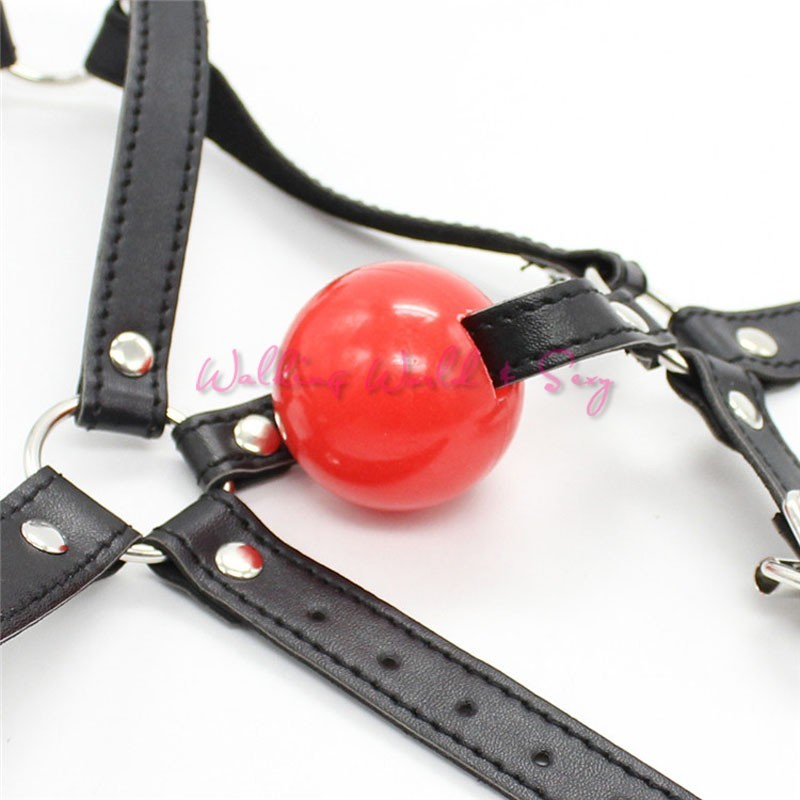 Leather Head Harness Bondage Restraints Mask Open Mouth Gag Silicon Ball Toys Sex Games Adult Fetish Product For Women Men (13)