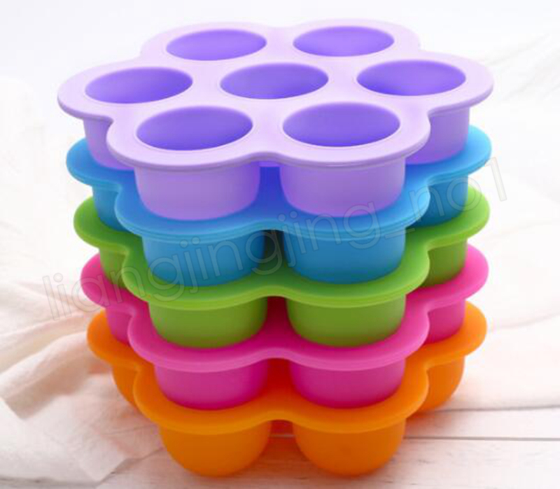 Silicone Egg Bite Mold Baby Food Storage Container Fruit Ice Cube 7 holes Ice Cream Maker Kitchen Tool GGA1031