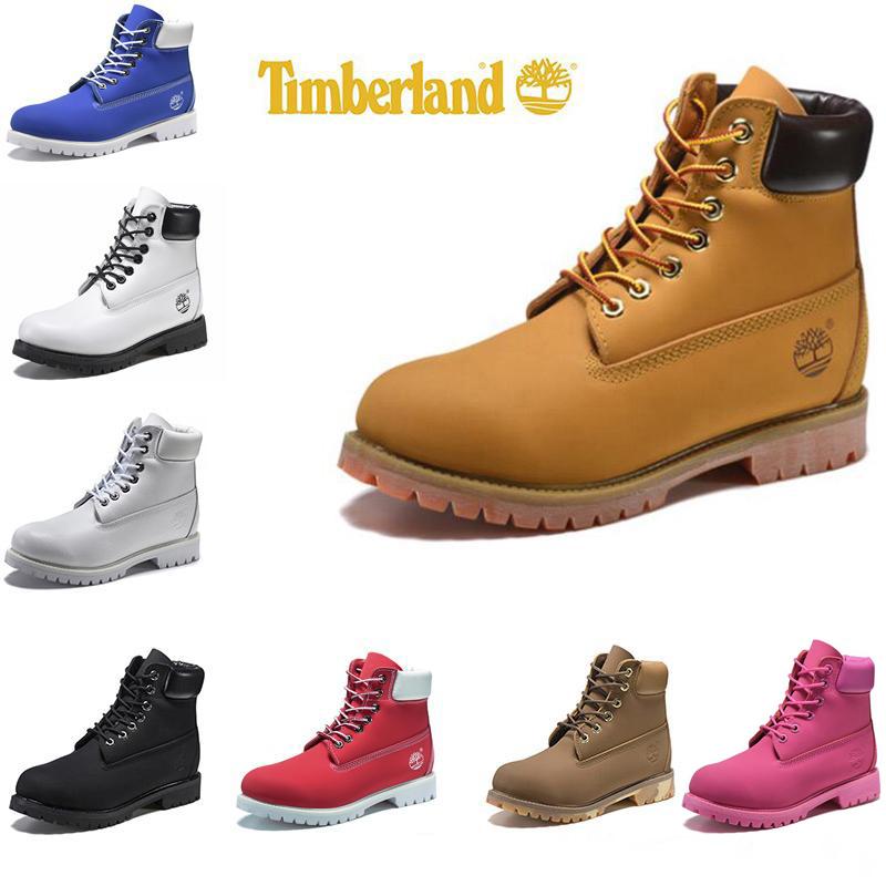Bottes Timberland Femme Homme Designer Sport Chaussures Hiver Rouge Blanc TBL Formateurs occasionnels des femmes des hommes de bottes de luxe de la