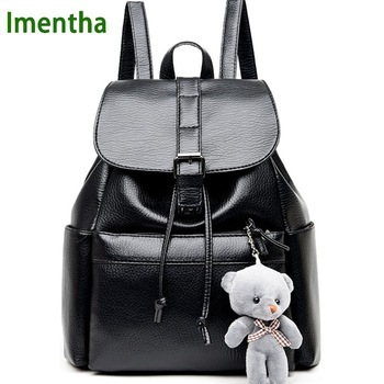2017 women Bagpack Female PU shiny leather black Backpack buckle Women Back Pack Lady School Bags for Teenagers girls