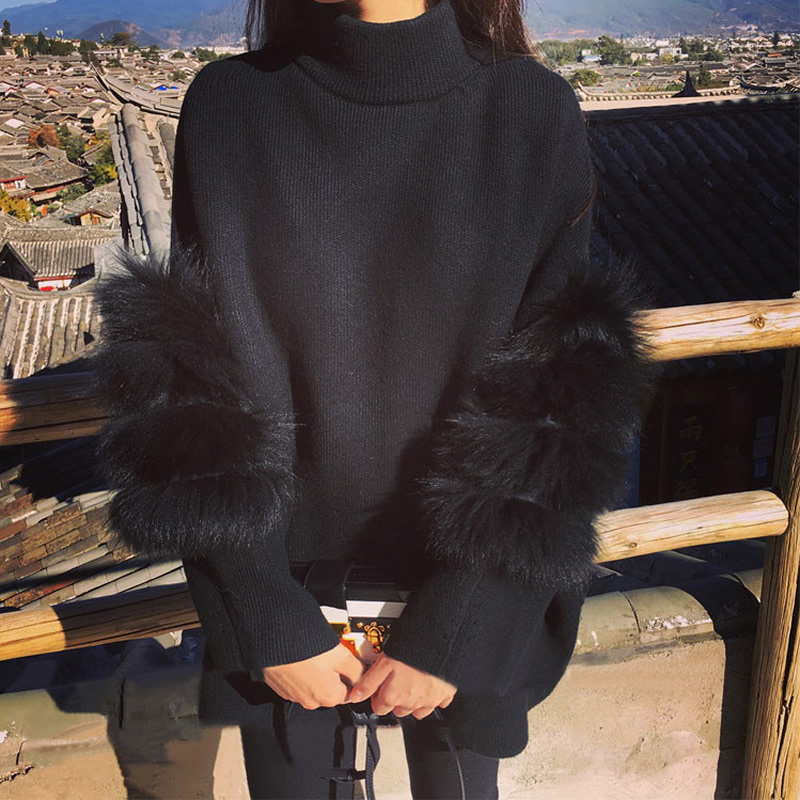 Fluffy Fluffy Women Sweater Oversized Turtle Neck Fur Sleeve Black White Autumn Winter Knited Pullover femme pull back zipperY1882402