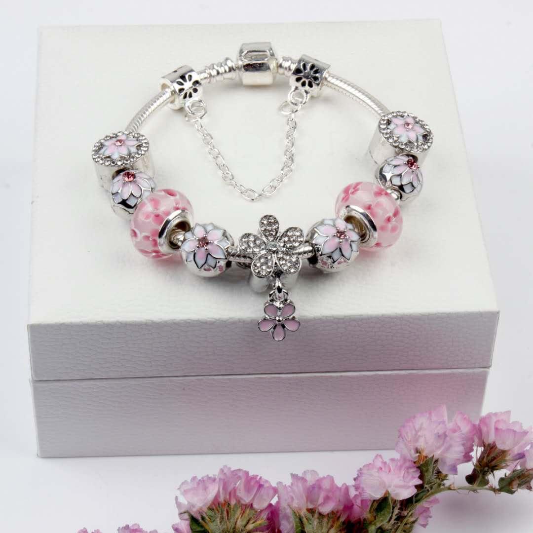 Rose Daisy Fleurs v/éritable argent sterling 925/Fleurs de printemps Rose en verre de Murano perles Fit Charm Bracelets et bracelets DIY Bijoux