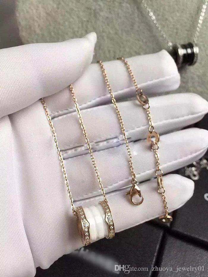 Priced boutique accessories wholesale couple pendant necklace Titanium steel gear edge set auger screw ceramic necklace four laps
