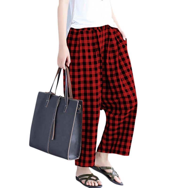 Elegant Woman Loose Plaid Trousers Elastic Waist Pockets Women Winter Wide Leg Pants Casual Straight Pants Red/Black Pantalon