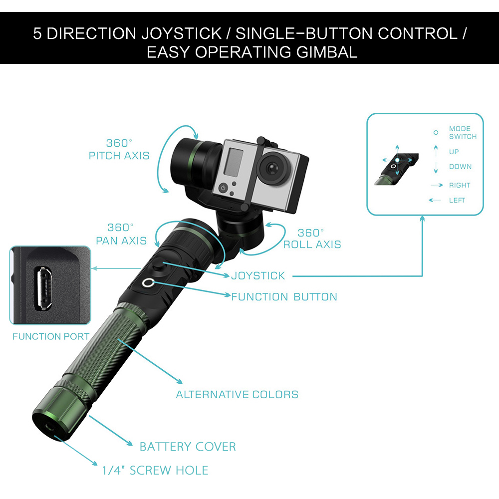 hohem HG3 3 Axis Handheld Gimbal Action Camera Stabilizer 360 Degree Coverage 5-Way Joystick Control for GoPro Hero3 4 Xiaomi Yi