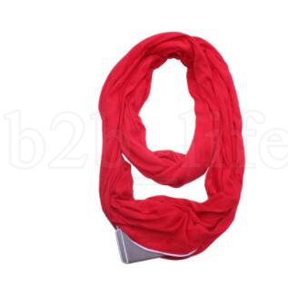 Unisex Fashion Scarf Infinity Scarves With Zipper Pocket Gifts Travel warm Ring Scarves Loop Scarf LJJK1076