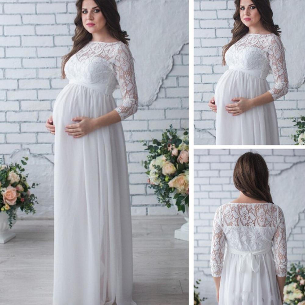 Plus Size Mutterschaft Abendkleider für schwangere Frauen Chiffon eine  Linie Spitze Durchsichtig 12/12 langen Ärmeln Elegante Abendkleider 12