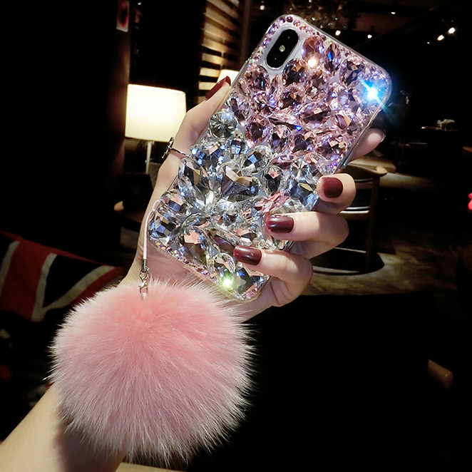 Bling Crystal Diamond Fox Fur Ball Pendant Case Cover For Iphone 12 Mini 11 Pro XS Max XR X 8 7 Plus Samsung Galaxy Note 20 S20 S10/9/8 Plus