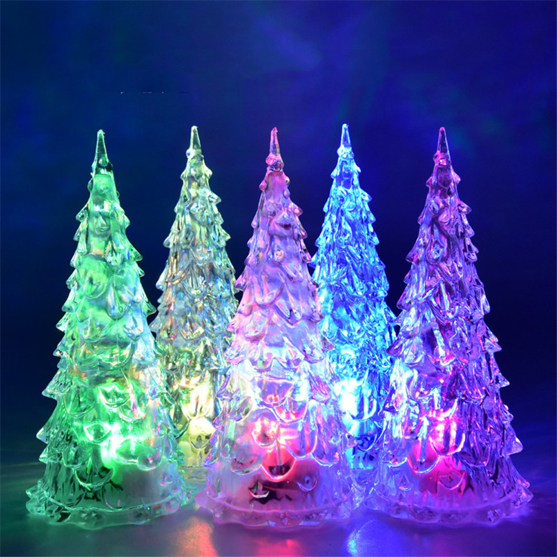 MINI Christmas Tree Led Light Crystal Clear Colorful Xmas Trees Night Lights New Year Party Decoration Flash bed Lamp Ornament Gift with Box