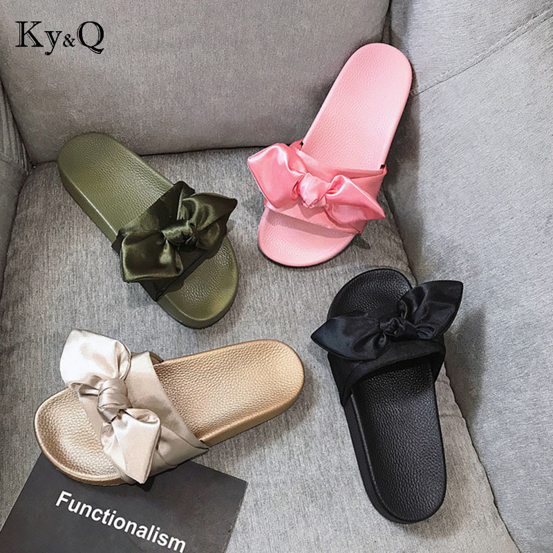 Women Slippers Silk Bow Slides Summer Beach Shoes Woman No Fur Slippers Flat Heels Flip Flops Ladies Rihanna Bohemia Sandals