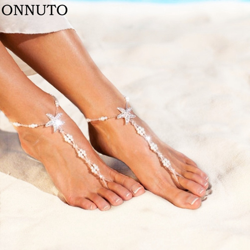 Sexy Ladies Starfish Anklet For Girls Boho Pearl Foot Jewelry Anklet Beaded Chain Barefoot Sandals Bridal Wedding Jewelry
