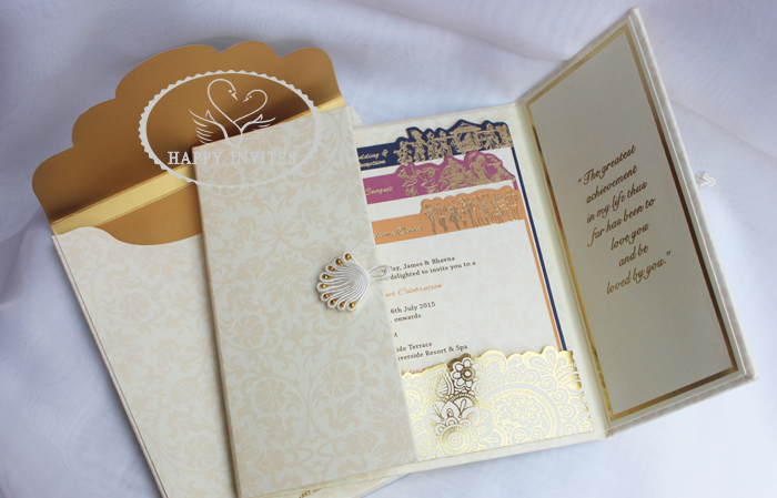 HI1091 - 09Personalized Hard Cover Gate Fold Wedding Card with Gold Foil