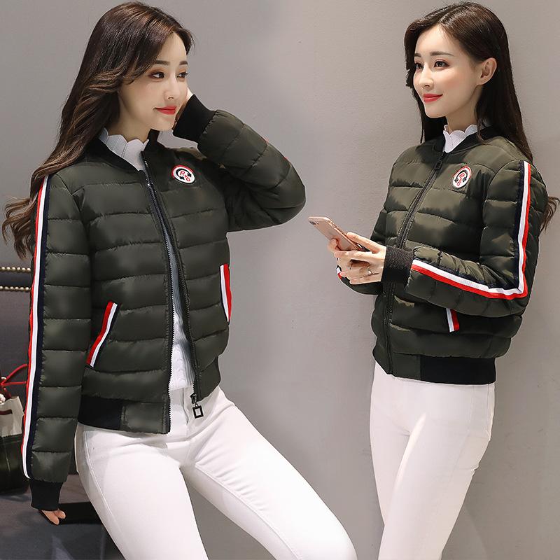 Mujeres es 2018 New Down Parkas chaqueta de algodón acolchado niñas delgado grueso corto abrigo de chaqueta femenina