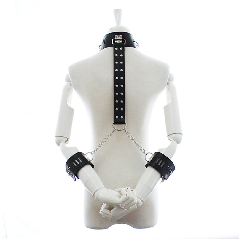 PU Leather Sexy Neck Collar with Hand Cuffs BDSM Fetish Bondage Restraints Gear Adult Sex Games S&M Slave Sex Toys for Couples