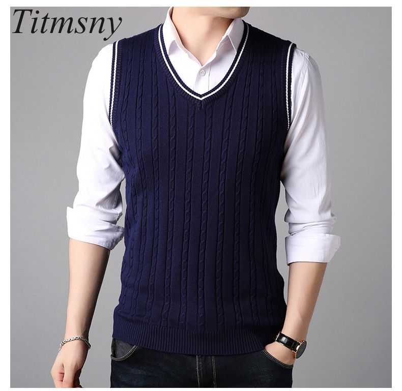 Generic Mens Sleeveless V-Neck Cotton Slim Fit Casual Pullover Knit Vest