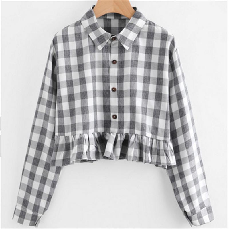 2017 Korean Ladies Lapel Casual Long Sleeve Plaid Shirt Women Tunic Crop Tops Shirt Ruffles Blouse High Street Blusa Plus Size