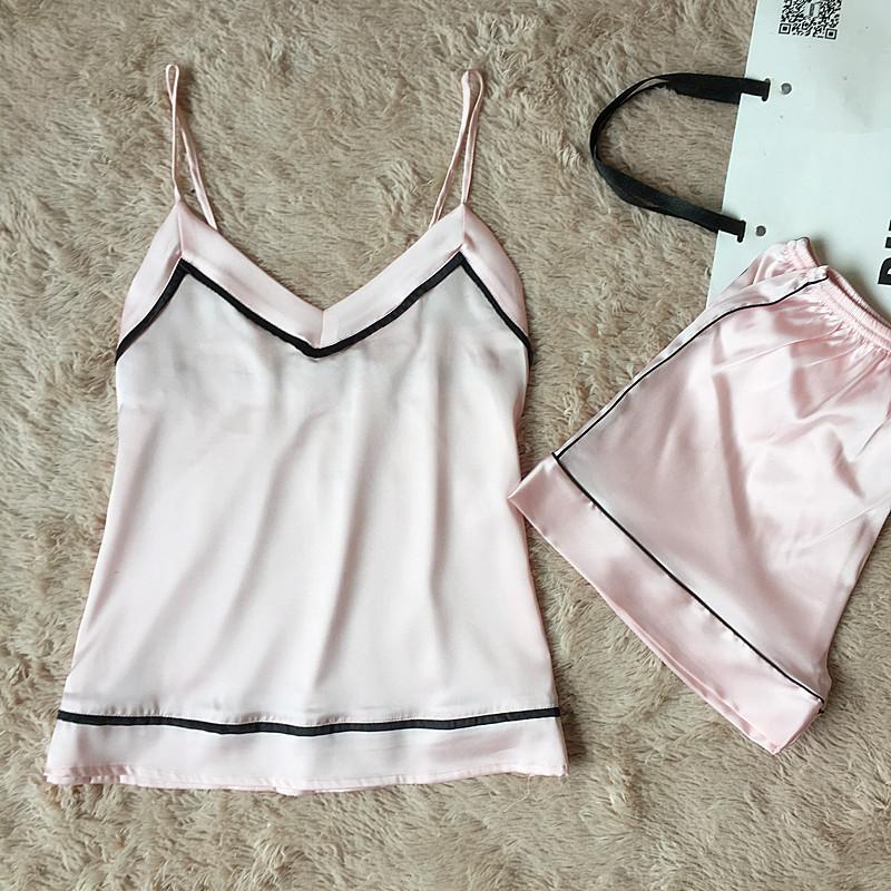 2018 New Women Elegant Pajamas Set V-Neck Sexy Sleepwear Satin Cami+Shorts Sleep Suit Casual Home Wear Nightwear M-XXL