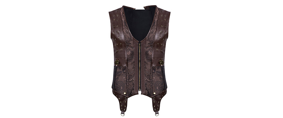 Mens Corset Steampunk Vest Shapers Brown Collar Sleeveless Steel Boned Gothic Corset Jacket Slimming Corsets For Men (7)