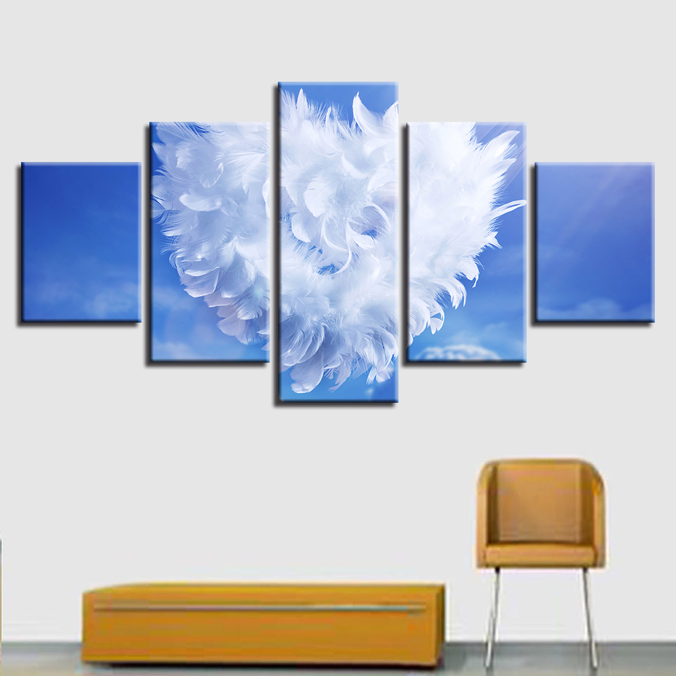 Canvas Paintings Wall Art Home Decor Living Room Angel Feather Love Heart Posters HD Prints Pictures Modular Framework