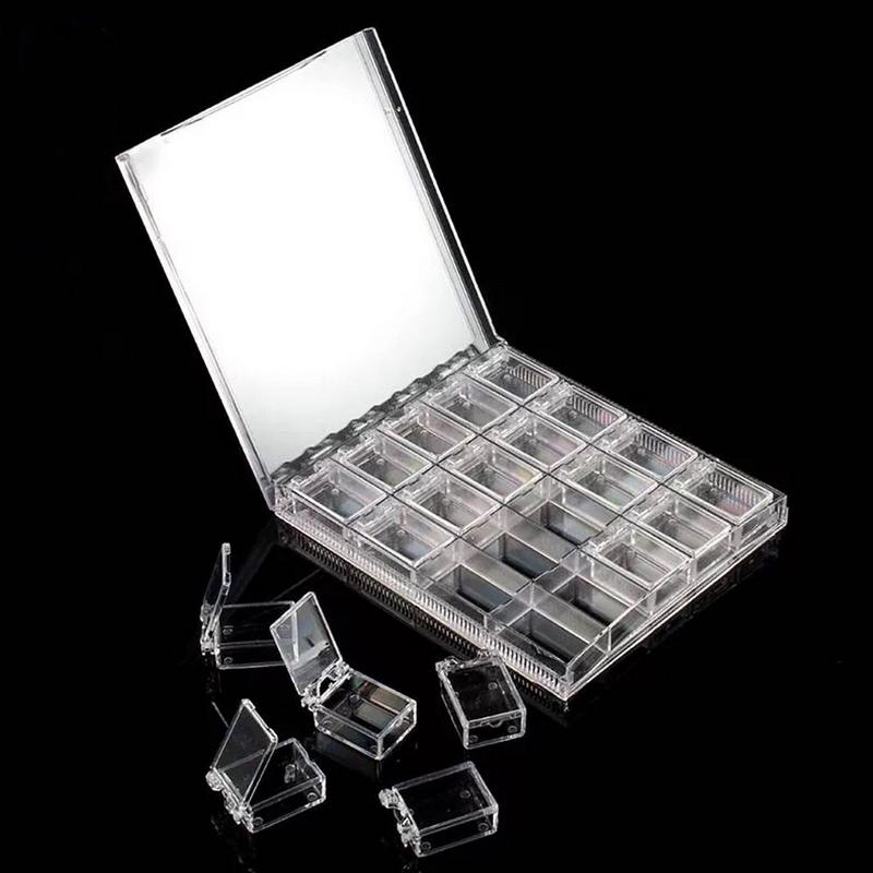Shellhard 1pc Clear Empty 20 Grids Nail Art Storage Box Plastic Storage Case For Nail Art Rhinestone Tools Jewelry Beads Gems
