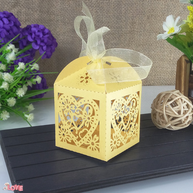 Laser Cutting Heart-shaped Pattern Candy Box Party Wedding Decoration Candy Boxes Christmas Gift Candy Box 6ZT51