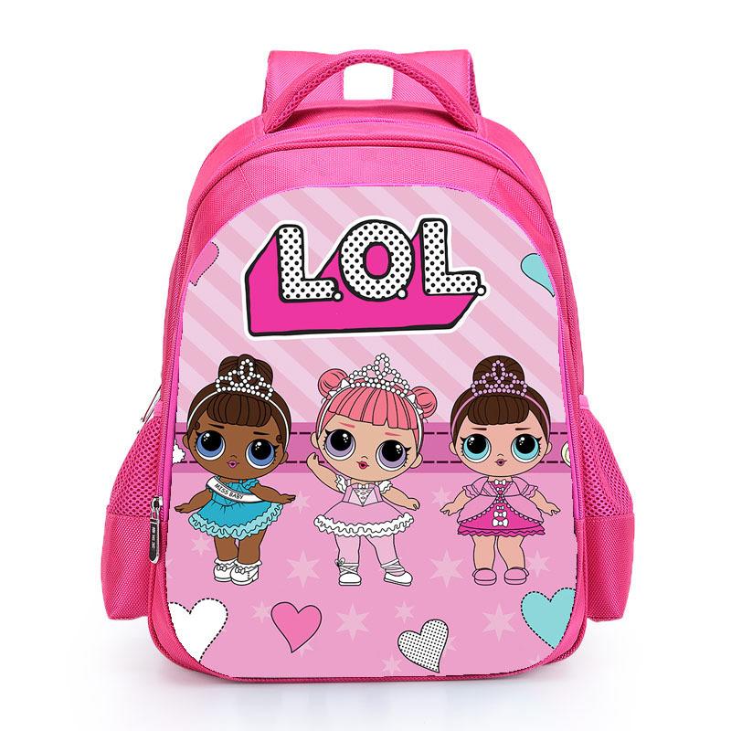 Kids Pink Backpack LOL School Bag for Girls Cute Custom Name Print Schoolbag personalized Book Knapsack mochila Birthday Gift (1)