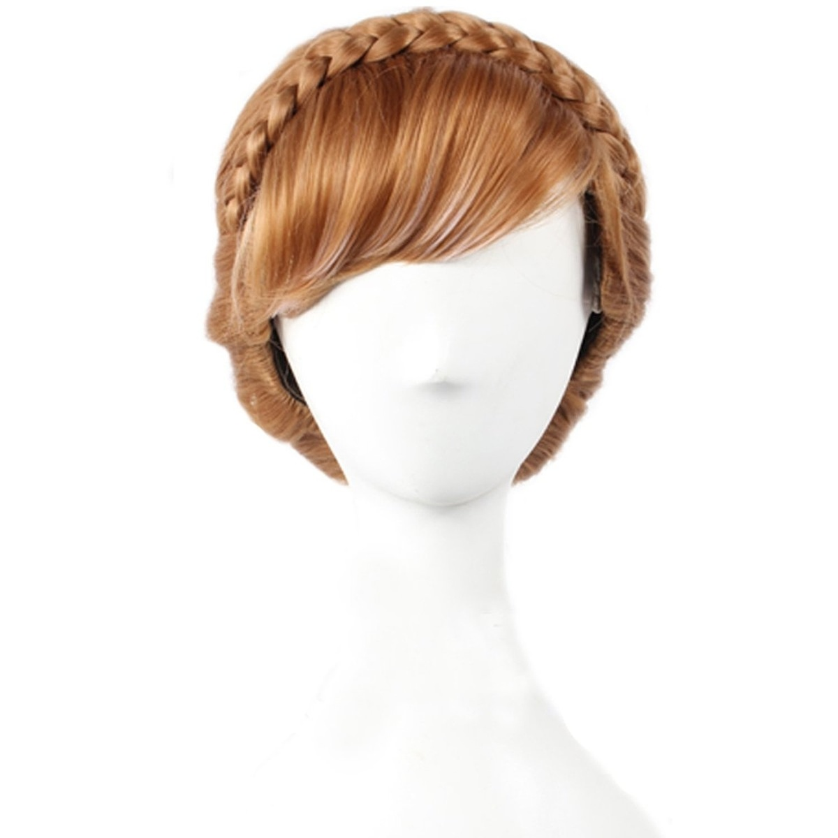 Women's Braids Updo Style Costume Cosplay Party Wigs Brown Short